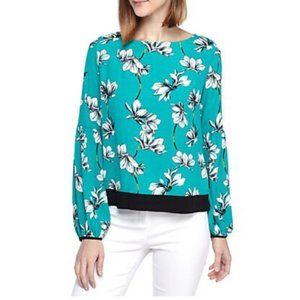 Kaari Blue Floral Long Sleeve Teal Blouse 3X 3XL
